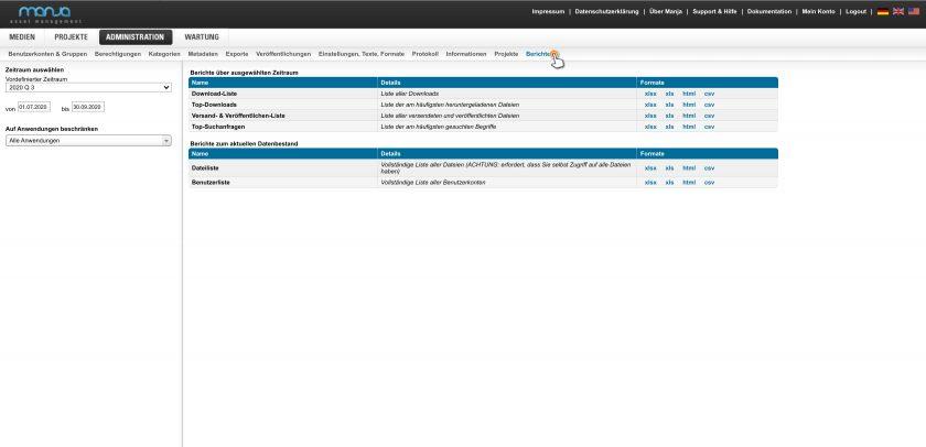 Mit dem Add-on Berichte können Sie sich einzelne thematische Berichte erstellen lassen und diese auch exportieren. Dazu gehört z.B. eine Liste aller Downloads, eine Liste der am häufigsten heruntergeladenen Dateien, eine Liste aller versendeten und veröffentlichten Dateien oder auch eine Liste der am häufigsten gesuchten Begriffe. Zusätzlich kann eine vollständige Liste aller Dateien sowie aller Benutzerkonten erstellt und exportiert werden. Alle Listen werden dynamisch erstellt und richten sich nach dem definierten Zeitraum und auch definierte Anwendungen.