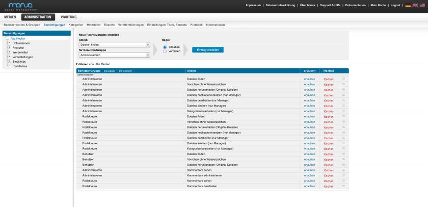 Für jeden Benutzer und jede Gruppe kann sehr detailliert eingestellt werden, wie die Berechtigungen sein sollen. Dazu gehören das Dateien finden, die Vorschau von Dateien, Dateien herunterladen, Dateien bearbeiten oder löschen.