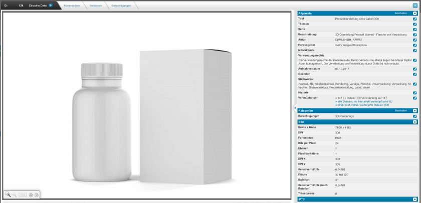 The detailed view of an asset shows all metadata and additional information. For example, information about the title, subject, series, description, author, publisher, usage rights, date taken and keywords are stored here. It also contains all the information about the image - height, width, color mode, pixel ratio, rotation and much more.