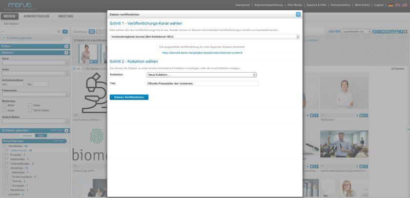 Ausgewählte Dateien können als Zusammenstellung veröffentlicht werden. Dies bedeutet, dass über einen generierten Link diese Dateien inkl. Vorschaufunktion und weitere Funktionen wie Download/Herunterladen angeboten werden. Dazu wählen Sie die gewünschten Dateien aus und klicken auf