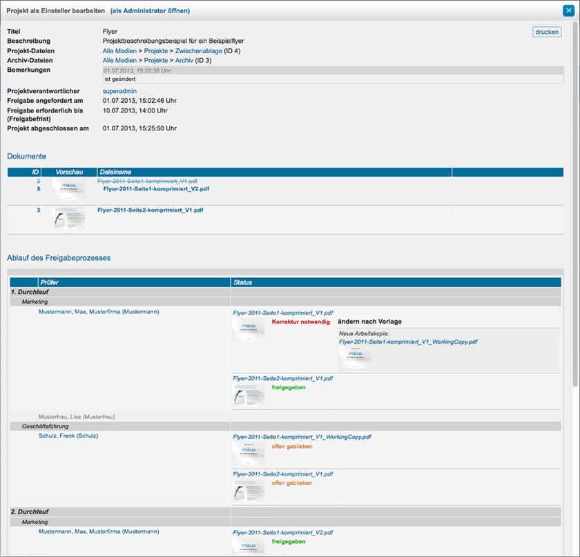 Mit dem Add-on Projekte können Freigabeprozesse zu Dateien erstellt, durchgeführt und in mehrere Schritte unterteilt werden. Ebenfalls kann der Ablauf eines Freigabeprozesses in mehrere Durchläufe und für unterschiedliche Beteiligte konfiguriert werden.