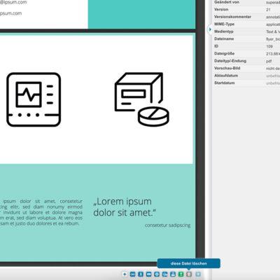 In der Detailansicht einer Datei steht in der Symbolleiste ebenfalls die Funktion für das Datei löschen zur Verfügung.