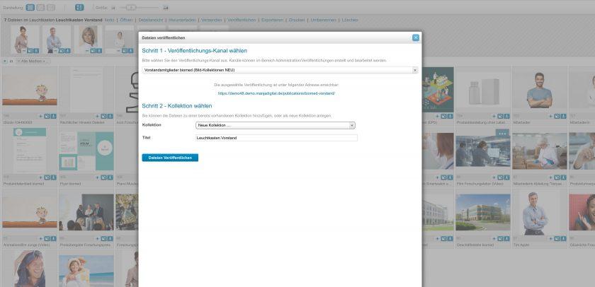 Um Dateien zu veröffentlichen, sind zwei Schritte notwendig: erstens den Veröffentlichungskanal wählen und zweitens die Kollektion auswählen. Ebenfalls wird hier auch der Titel festgelegt.