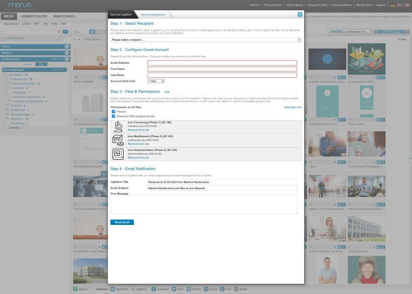 Send files as Lightbox