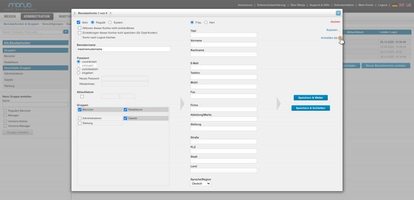 In der Benutzerverwaltung steht allen Administratorinnen und Administratoren die Funktion Anmelden als zur Verfügung. Diese wird in der Detailansicht einer Benutzerin bzw. eines Benutzers angezeigt.