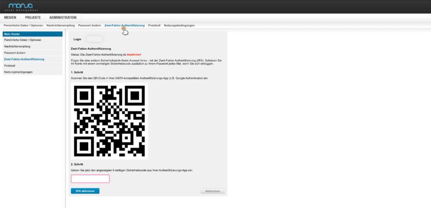 Die Zwei-Faktor-Authentifizierung (2FA) ist eine zusätzliche Sicherheitsstufe. Diese kann in den Kontoeinstellungen aktiviert und eingerichtet werden. Mit einer OAuth-App können Sie sich dann mit einem zusätzlichen Sicherheitscode anmelden.