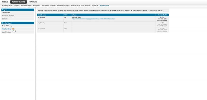 Administration > Informationen > Web Services